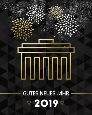 Happy New Year 2019 Berlin greeting card with Germany landmark Brandenburg gate in gold outline style.