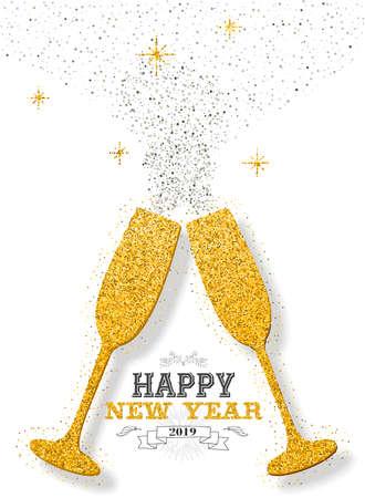 Bonne année 2019 luxe or célébration champagne verres de poussière de paillettes d'or acclamations. Idéal pour carte de voeux ou invitation élégante à une fête de vacances.