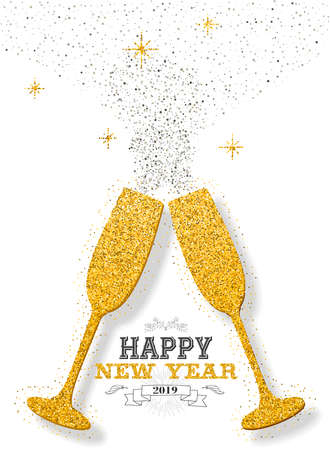 Happy new year 2019 luxury gold celebration champagne golden glitter dust glasses cheering. Ideal for greeting card or elegant holiday party invitation.