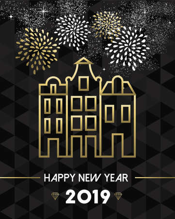 Happy New Year 2019 Amsterdam greeting card with Netherlands landmark traditional buildings in gold outline style.