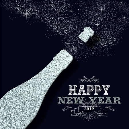 Feliz año nuevo 2019 splash de botella de champán con brillo de lujo. Ideal para tarjetas de felicitación o una elegante invitación a una fiesta navideña.