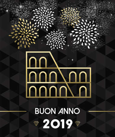 Happy New Year 2019 Rome italian greeting card with Italy historic landmark Colosseum in gold outline style.