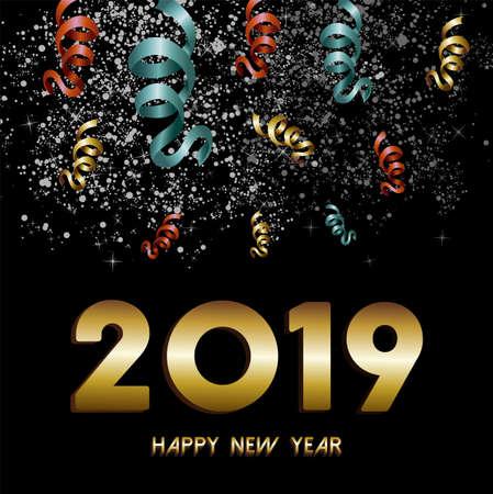 Feliz año nuevo 2019 tarjeta de felicitación, texto dorado con fondo de explosión de confeti y fuegos artificiales del cielo nocturno.