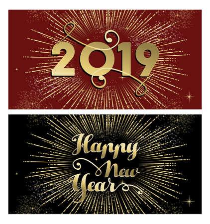 Cartolina d'auguri di felice anno nuovo 2019 banner con testo in oro e esplosione di fuochi d'artificio.