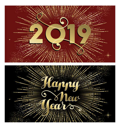 Happy New Year 2019 banner greeting card set with gold text and fireworks explosion.