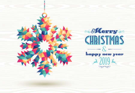 Merry Christmas and happy new year 2019 retro snowflake made with colorful hipster triangles background. Ideal for holiday greeting card, poster or web template.