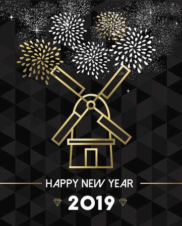Frohes neues Jahr 2019 Niederlande Grußkarte mit traditionellem Windmühlen-Wahrzeichen im goldenen Umriss-Stil. Vektorgrafik
