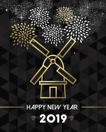 Happy New Year 2019 Netherlands greeting card with traditional windmill landmark in gold outline style.