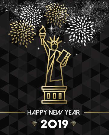 Feliz año nuevo 2019 tarjeta de felicitación de Nueva York con la estatua de la libertad de Estados Unidos Estados Unidos en estilo de contorno dorado.