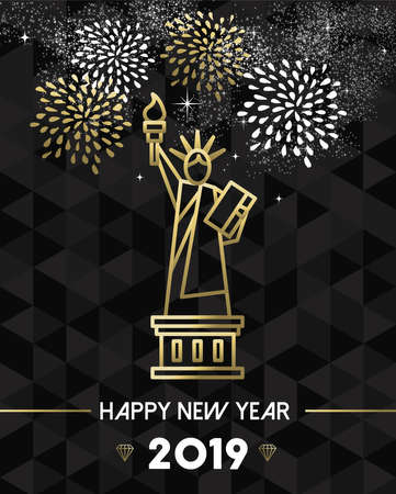 Happy New Year 2019 New York greeting card with USA United States statue of Liberty in gold outline style.