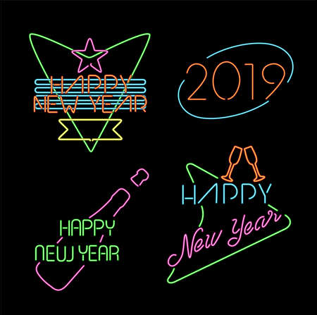 Happy new year 2019 neon light style label set, retro designs with text and holiday celebration elements. Illustration
