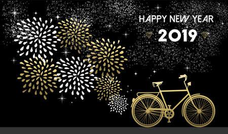 Szczęśliwego nowego roku 2019, projekt złotej karty z pozdrowieniami z sylwetka roweru i fajerwerki w tle nocnego nieba.