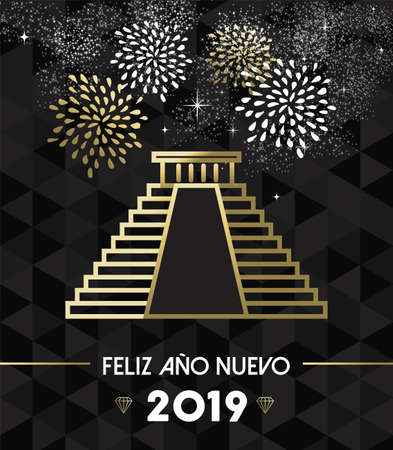 Happy New Year 2019 Mexico greeting card with historic landmark Chichen Itza pyramid in gold outline style.
