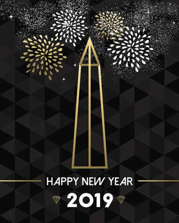 Feliz año nuevo 2019 tarjeta de felicitación de Washington con obelisco de monumento de Estados Unidos Estados Unidos en estilo de contorno dorado.