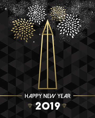 Happy New Year 2019 Washington greeting card with USA United States monument obelisk in gold outline style.