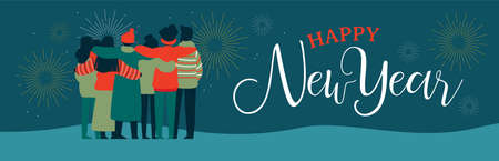 Happy New Year web banner illustration of young people friend group hugging together with fireworks in night sky. Diverse culture friends team celebrating. Illustration
