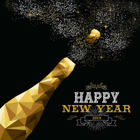 Happy new year 2019 fancy gold champagne bottle in hipster triangle low poly style. Ideal for greeting card or elegant holiday party invitation. Banque d'images - 111762096
