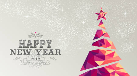 Happy new year 2019 holiday decoration greeting card or poster design with colorful triangle christmas pine tree and vintage label illustration.