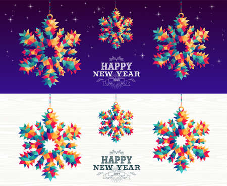 Happy new year 2019 colorful hipster triangle snowflake holiday ornaments banner set with night sky and wood background.
