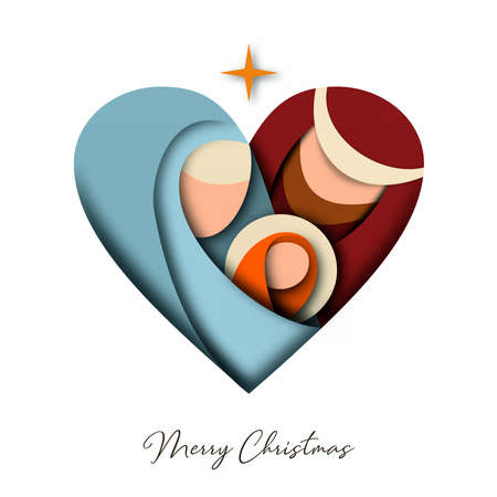 Merry Christmas 3d paper cut greeting card with religious illustration of holy family: mary, joseph and baby jesus christ. Holiday design for festive event.