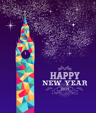 Happy new year 2019 greeting card or poster design with colorful triangle England monument and vintage label illustration. Illustration
