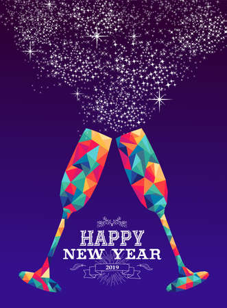 Happy new year 2019 holiday greeting card or poster design with colorful triangle wine glass and label illustration. Ilustração
