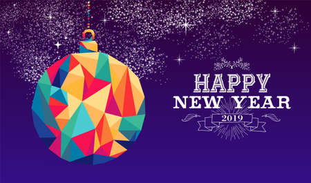 Happy new year 2019 holiday decoration greeting card or poster design with colorful triangle ornament bauble and vintage label illustration.