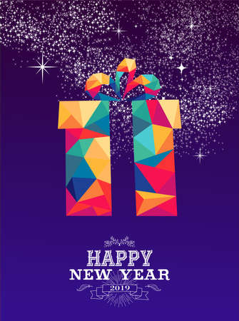 Happy new year 2019 greeting card or poster design: triangle style gift with colorful wrapping paper and vintage label illustration.
