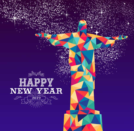 Happy new year 2019 greeting card or poster design with colorful triangle Rio Brazil statue and vintage label illustration.