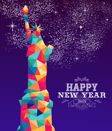 Happy new year 2019 greeting card or poster design with colorful triangle New York and vintage label illustration.