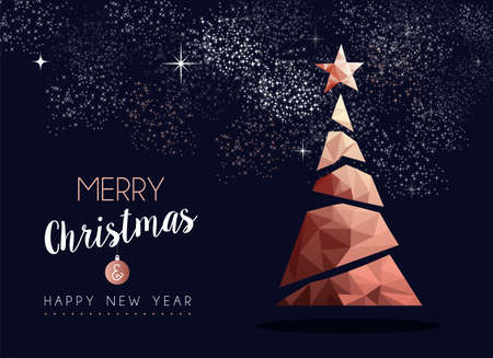 Merry christmas and happy new year fancy copper pine tree in hipster triangle low poly style. Ideal for xmas greeting card or elegant holiday party invitation. Reklamní fotografie - 111831890