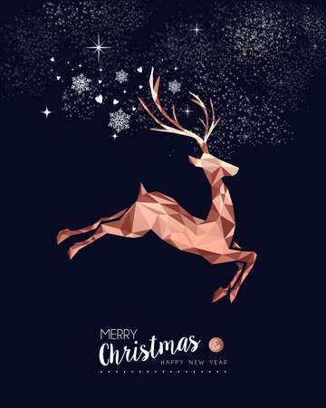 Merry christmas and happy new year fancy copper reindeer in hipster triangle low poly style. Ideal for xmas greeting card or elegant holiday party invitation. Ilustração Vetorial