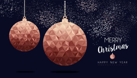 Merry christmas and happy new year fancy copper ornament. Ideal for xmas greeting card or elegant holiday party invitation.
