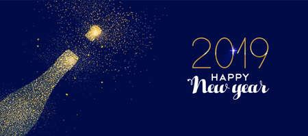 Feliz año nuevo 2019 celebración de botella de champán de oro hecha de polvo de brillo dorado realista. Ideal para tarjetas navideñas o elegantes invitaciones a fiestas. Ilustración de vector