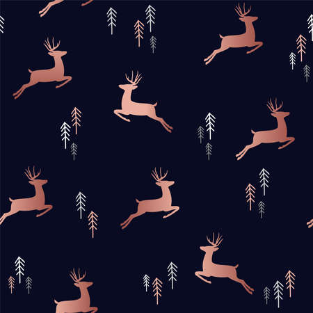 Simple Christmas seamless pattern, copper deer silhouettes with xmas pine tree doodle.