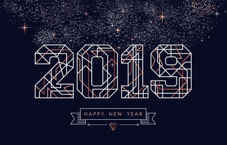 Felice anno nuovo disegno astratto in rame deco con segno 2019 in stile contorno. Ideale per biglietti di auguri per le vacanze, poster, campagne o web.