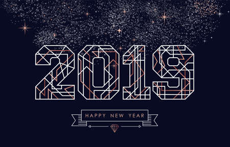 Happy new year abstract deco copper design with 2019 sign in outline style. Ideal for holiday greeting card, poster, campaign or web. Reklamní fotografie - 111514312