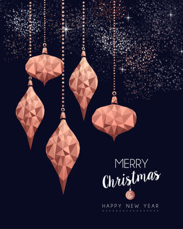 Merry christmas and happy new year fancy copper ornament in hipster triangle low poly style. Ideal for xmas greeting card or elegant holiday party invitation.