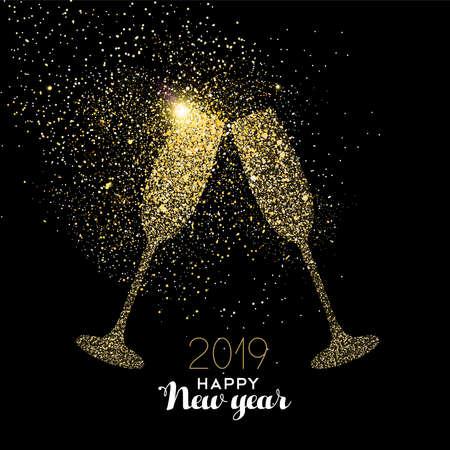 Frohes neues Jahr 2019 Gold Champagnerglas Feier Toast aus realistischem goldenem Glitzerstaub. Ideal für Weihnachtskarte oder elegante Partyeinladung. Vektorgrafik