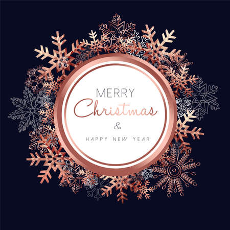 Merry Christmas greeting card design with copper snowflake decoration background for winter holiday season.