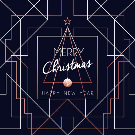 Christmas and Happy new year abstract deco copper design in outline style. Ideal for holiday greeting card, poster, campaign or web.