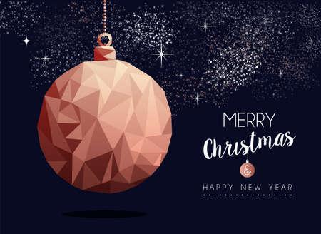 Merry christmas and happy new year fancy copper ornament in hipster triangle low poly style. Ideal for xmas greeting card or elegant holiday party invitation. Reklamní fotografie - 111831495