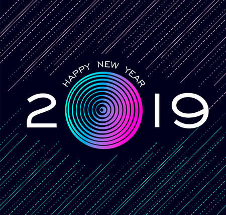 Happy New Year 2019 greeting card with colorful night design, numbers and geometric background.
