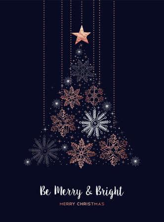 Diseño de tarjeta de felicitación de feliz Navidad con pino de forma de copo de nieve de cobre para la temporada de vacaciones de invierno.