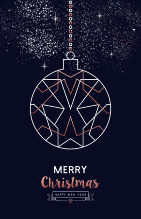 Merry Christmas and Happy New Year abstract deco copper design with ornament in outline style. Ideal for holiday greeting card, poster, campaign or web. Standard-Bild - 113543072