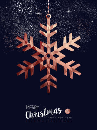 Merry christmas and happy new year fancy copper snowflake in hipster triangle low poly style. Ideal for xmas greeting card or elegant holiday party invitation. 向量圖像
