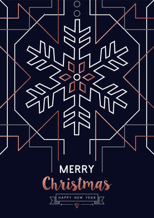 Merry Christmas and Happy New Year abstract deco copper design with snowflake in outline style. Ideal for holiday greeting card, poster, campaign or web.