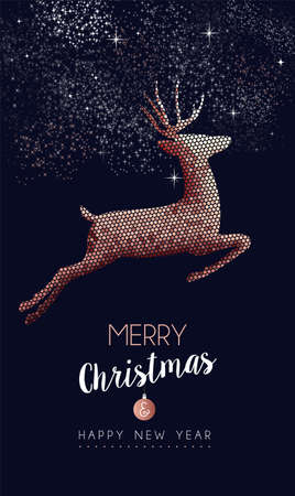 Merry Christmas Happy new year luxurious copper reindeer jumping in mosaic style. Ideal for holiday card or elegant party invitation. Reklamní fotografie - 113543074