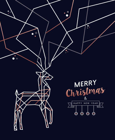 Merry Christmas and Happy New Year abstract deco copper design with reindeer in outline style. Ideal for holiday greeting card, poster, campaign or web. Reklamní fotografie - 113543075