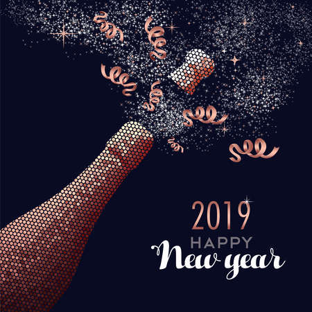 Happy new year 2019 luxury copper champagne bottle in mosaic style. Ideal for holiday card or elegant party invitation.